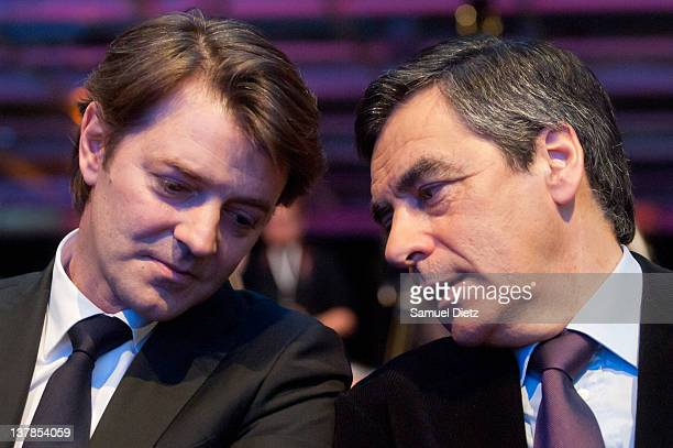 French Minister of Economy, Finances and Industry Francois Baroin and French Prime Minister Francois Fillon attend UMP National Convention at Parc...