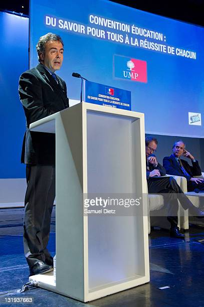 French Minister of Education Luc Chatel speaks during the convention Knowledge and education for all at Bobino on November 8 2011 in Paris France The...