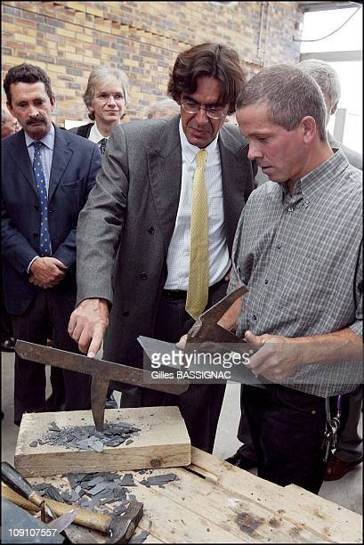 French Minister Of Education Luc Ferry Visits Jacques Le Caron Professional Training School On March 9Th 2002 In Arras France