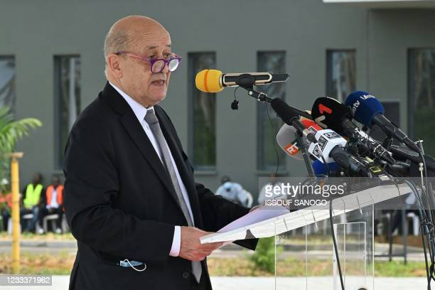 French Minister of Europe and Foreign Affairs Jean-Yves Le Drian delivers a speech during inauguration of the International Academy for Combating...