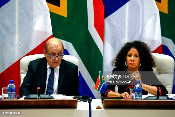 French Minister of Europe and Foreign Affairs JeanYves Le Drian and South African Minister of International Relations and Cooperation Lindiwe Sisulu...
