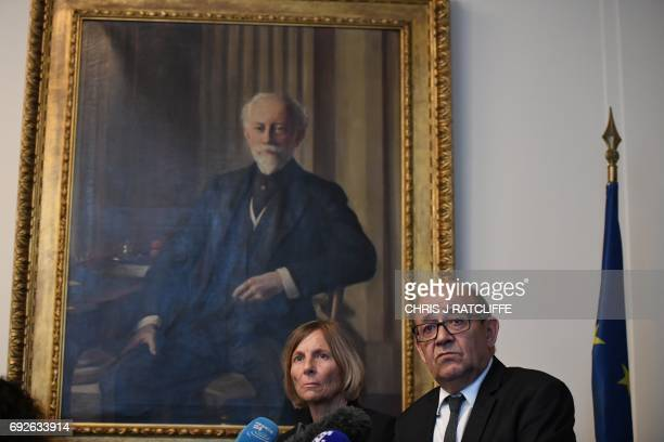 French Minister of Europe and Foreign Affairs JeanYves Le Drian and French Minister of European Affairs Marielle de Sarnez give a press briefing on...