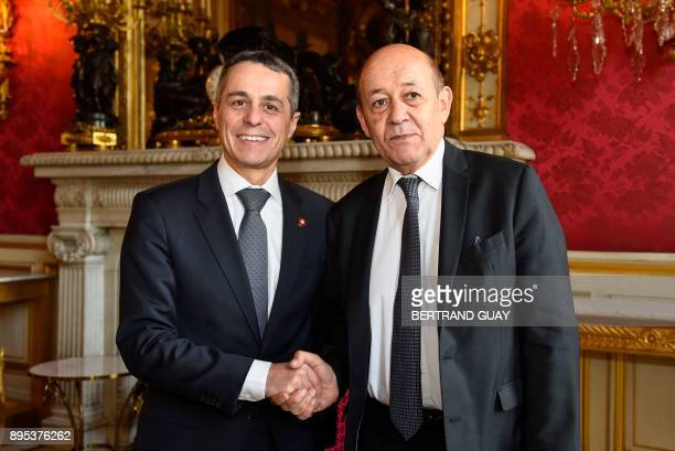 French Minister of Europe and Foreign Affairs JeanYves Le Drian welcomes his Swiss counterpart Ignazio Cassis at the Foreign Affairs ministry in...