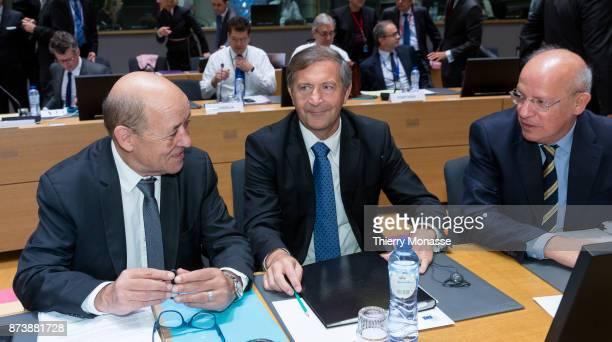 French Minister of Europe and Foreign Affairs JeanYves Le Drian the Slovenian Minister of Foreign Affairs Karl Erjavec and the Portugese Minister for...