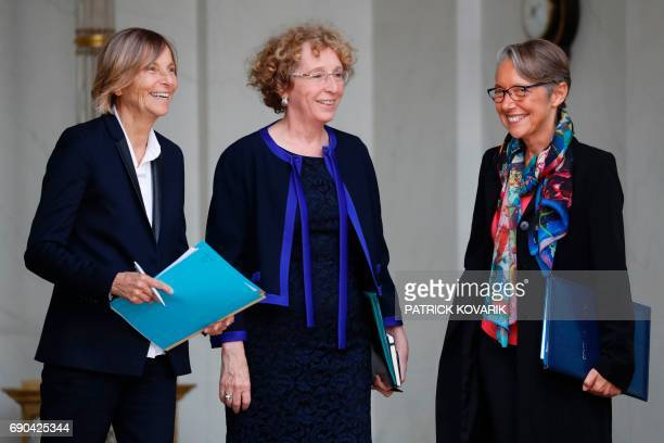 French Minister of European Affairs Marielle de Sarnez French Minister of Labour Muriel Penicaud and French Minister of Transport Elisabeth Borne...