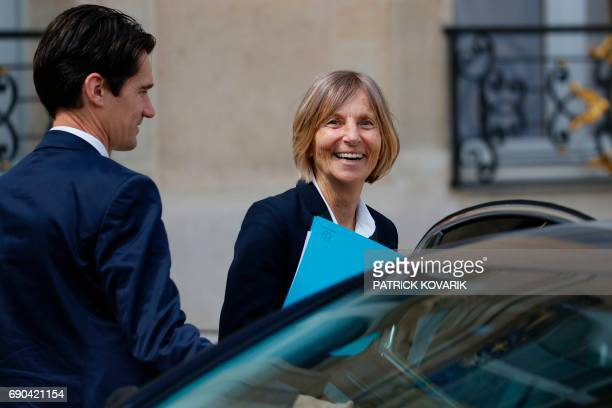 French Minister of European Affairs Marielle de Sarnez smiles as she leaves a cabinet meeting on May 31 2017 at the Elysee Palace in Paris / AFP...