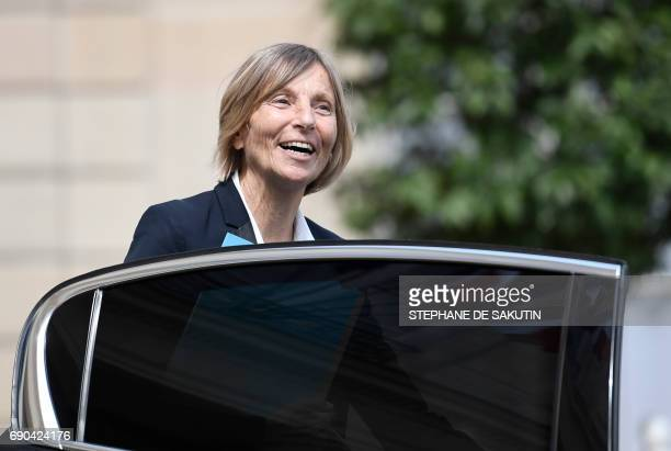 French Minister of European Affairs Marielle de Sarnez steps into a car as she leaves a cabinet meeting on May 31 2017 at the Elysee Palace in Paris...