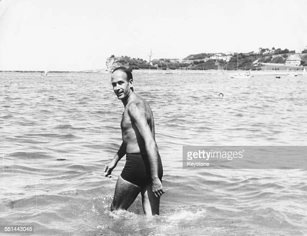 French Minister of Finance Valery Giscard D'Estaing taking a dip in the sea during a short holiday in Saint Jean de Luz, August 28th 1965.