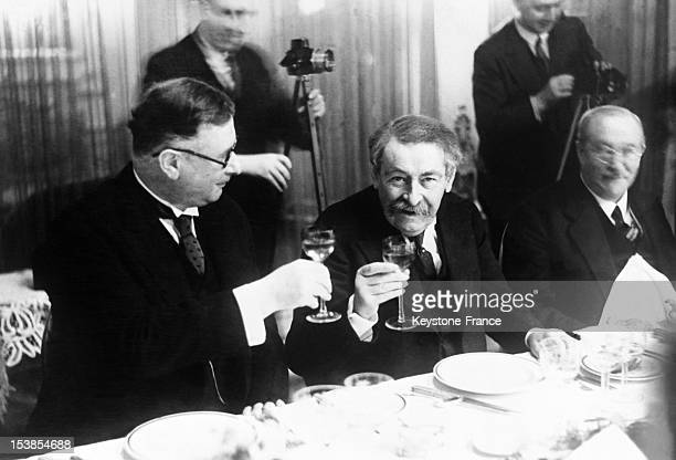 French Minister of Foreign Affairs Aristide Briand at a State banquet with delegates from France and Germany at eastern compensations conference in...