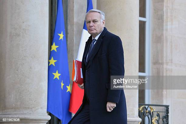 French Minister of Foreign Affairs Jean Marc Ayrault attends an emergency meeting concerning the cold weather in France at Elysee Palace on January...