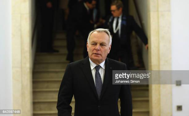French minister of foreign affairs Jean-Marc Ayrault arrives for a four-lateral meeting at the 2017 Munich Security Conference on February 18, 2017...