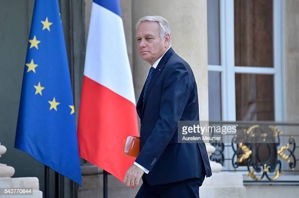 French Minister of Foreign Affairs JeanMarc Ayrault arrives for an exceptional cabinet meeting following the results of the UK EU Referendum vote at...