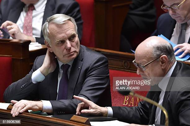 French Minister of Foreign Affairs JeanMarc Ayrault French Junior Minister for Parliamentary Relations JeanMarie Le Guen and French Minister of...