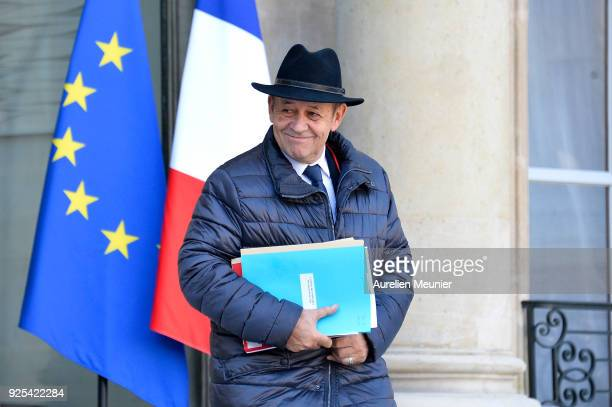 French Minister of Foreign Affairs JeanYves Le Drian leaves the Elysee Palace after the weekly cabinet meeting on February 28 2018 in Paris France