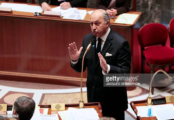 French Minister of Foreign Affairs Laurent Fabius adresses MPs during the weekly session of questions to the government at the National Assembly on...
