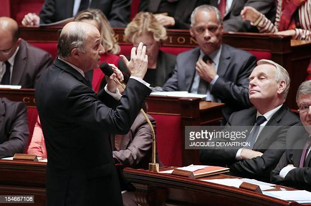 French Minister of Foreign Affairs Laurent Fabius answers to a French MP during the weekly session of questions to the government at the National...