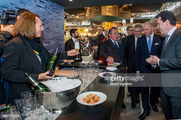 French minister of Foreign Affairs Laurent Fabius attends the official opening of SIRHA gastronomic fair with Rhone Alps politicians JeanJack...