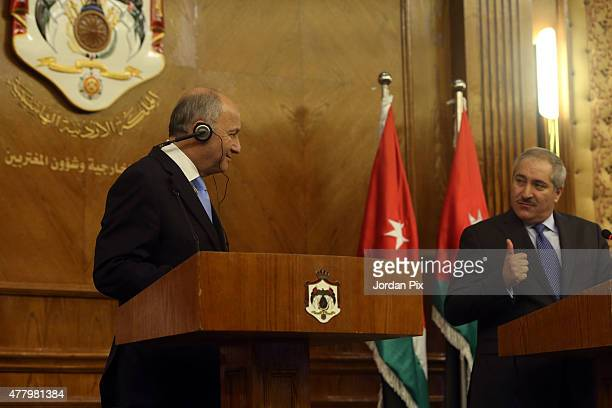 French minister of foreign affairs Laurent Fabius holds a press conference with his Jordanian counterpart miniser Nasser Judeh on June 21 2015 in...