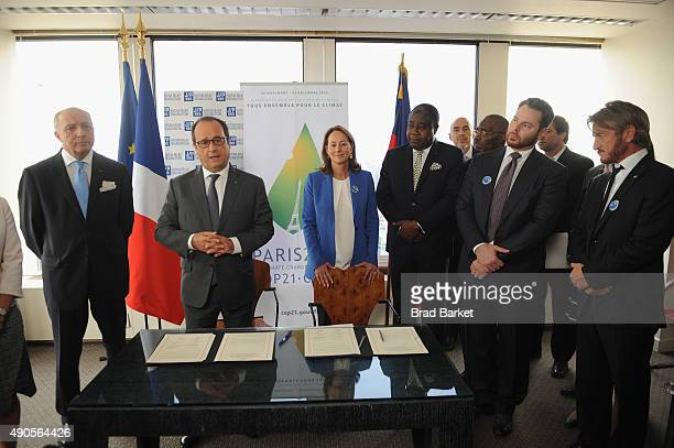 French Minister of Foreign Affairs Laurent Fabius Minister of Ecology Segolene Royal Minister of Defense and Foreign Affairs Lener Renaud Fernando...