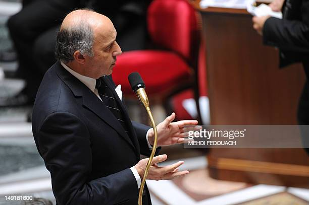 French Minister of Foreign Affairs Laurent Fabius speaks during the weekly session of questions at the National Assembly on July 24 2012 in Paris...