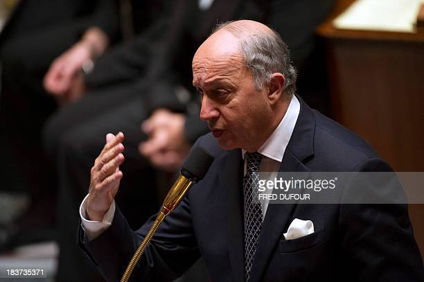 French Minister of Foreign Affairs Laurent Fabius takes part in a weekly session of questions to the government on October 9 2013 at the National...
