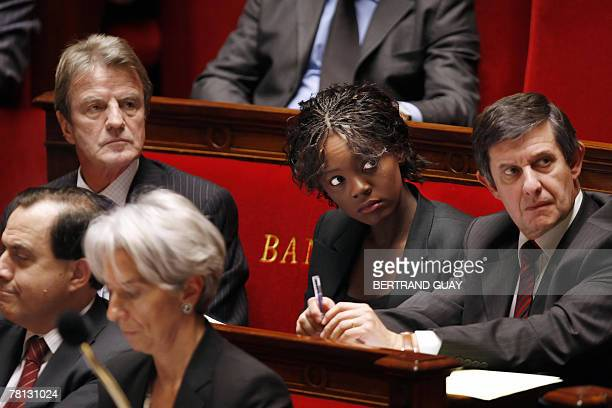 French Minister of Foreign and European Affairs Bernard Kouchner secretary of state for human rights Rama Yade and Minister of State attached to the...