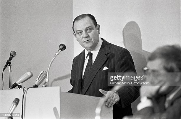 French Minister of Foreign Trade Raymond Barre gives a press conference in Paris.