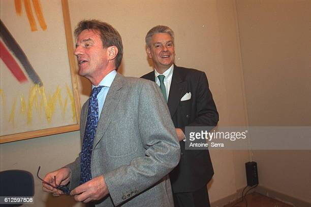 French minister of health Bernard Kouchner and French minister of defense Alain Richard present a report on Gulf War Syndrome at a press conference...