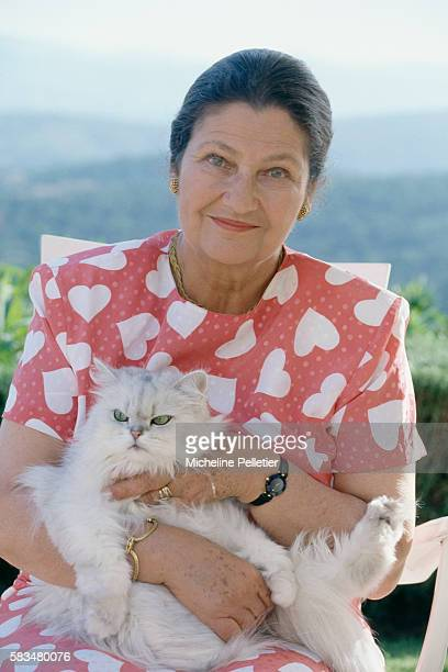 French Minister of Health Simone Veil with husband politician Antoine Veil on holiday in Grimaud