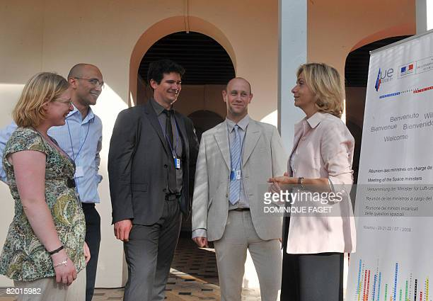 French minister of Higher Education and Research Valerie Pecresse chats with students delegates Claire Rogovitz, Yago Gonzalez Velo, Nicolas Roche...