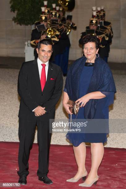 French Minister of Higher Education of Research Frederique Vidal and her husband attend a State dinner offered by French President Emmanuel Macron in...