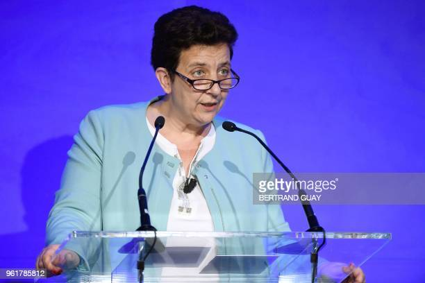 French Minister of Higher Education Research and Innovation Frédérique Vidal speaks during a press conference at Facebook headquarters in Paris on...