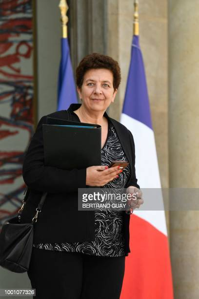French Minister of Higher Education Research and Innovation Frederique Vidal leaves after a weekly cabinet meeting on July 18 2018 at the Elysee...