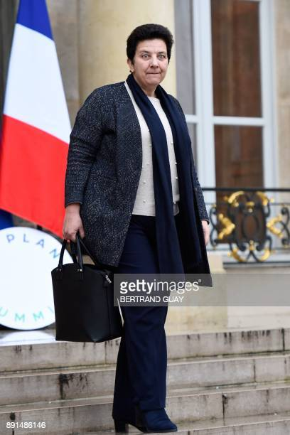 French Minister of Higher Education Research and Innovation Frederique Vidal leaves after a weekly cabinet meeting on December 13 2017 at the Elysee...