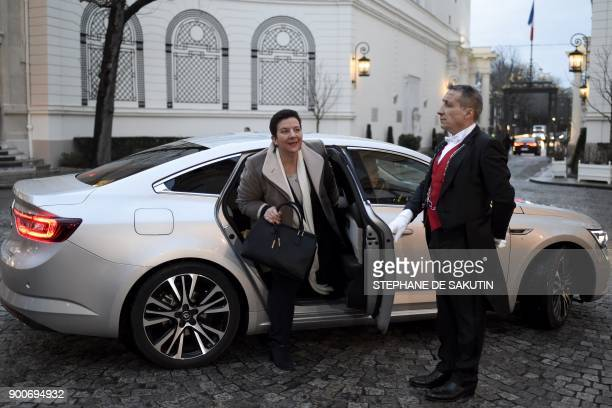 French Minister of Higher Education Research and Innovation Frederique Vidal arrives to attend a government's New Year breakfast meeting at the...