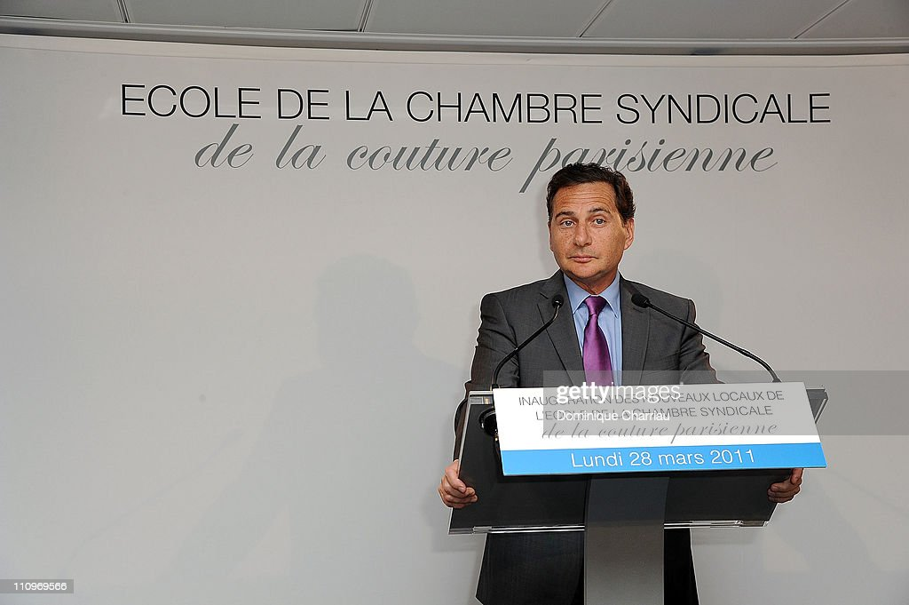 French Minister of Industry Eric Besson attends the 'Chambre Syndicale De La Couture Parisienne' School Launch Cocktail on March 28, 2011 in Paris, France.
