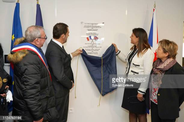 French Minister of Interior Christophe Castaner and Britain's Minister of State for Immigration Caroline Nokes unveil an inaugural plaque as they...
