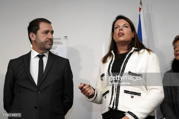French Minister of Interior Christophe Castaner and Britain's Minister of State for Immigration Caroline Nokes R visit the FrancoBritish joint...