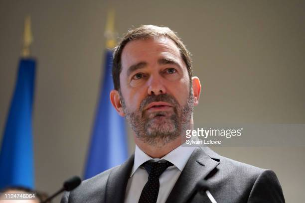 French Minister of Interior Christophe Castaner delivers a speech at Calais police station as part of his visit Calais on January 25 2019 in Calais...