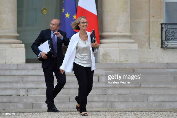 French Minister of Interior Gerard Collomb and French Culture Minister Francoise Nyssen leave the Elysee Palace after the weekly cabinet meeting with...