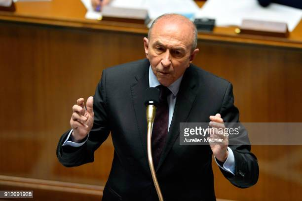 French Minister of Interior Gerard Collomb answers deputies questions during the weekly session of questions to the government at Assemblee Nationale...