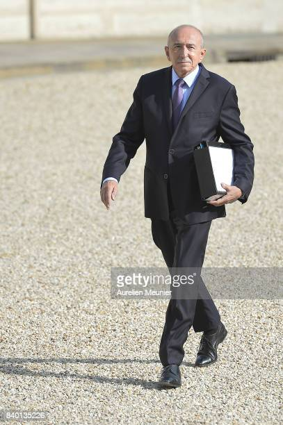 French Minister of Interior Gerard Collomb arrives at Elysee Palace for a cabinet meeting on August 28 2017 in Paris France
