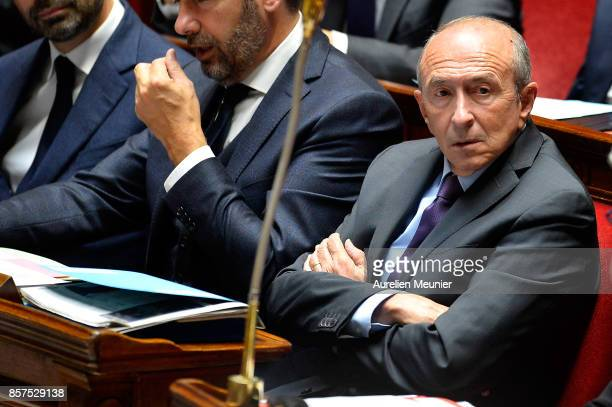 French Minister of Interior Gerard Collomb reacts as Ministers answer deputies during the weekly questions to the government at Assemblee Nationale...