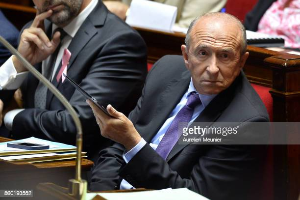 French Minister of Interior Gerard Collomb reacts as Ministers answer deputies during the weekly questions to the government at the Assemblee...