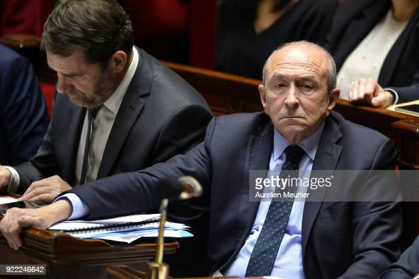 French Minister of Interior Gerard Collomb reacts as Ministers answer deputies questions during a session of questions to the government at Assemblee...