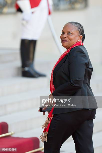 French Minister of Justice Christiane Taubira arrives at the State Dinner offered by French President François Hollande at the Elysee Palace on June...
