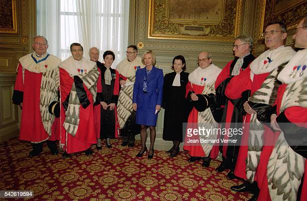 French Minister of Justice Elisabeth Guigou stands with several judges in Paris She is attending an official session of France's highest court of...