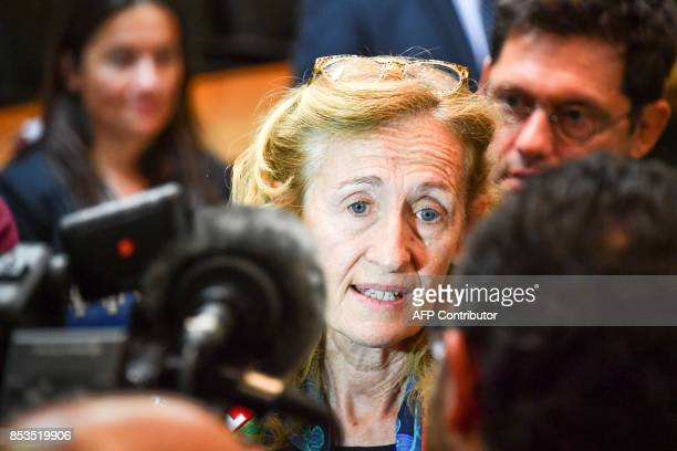 French Minister of Justice Nicole Belloubet speaks to journalists during a visit to Nice court on September 25 2017 / AFP PHOTO / Yann COATSALIOU
