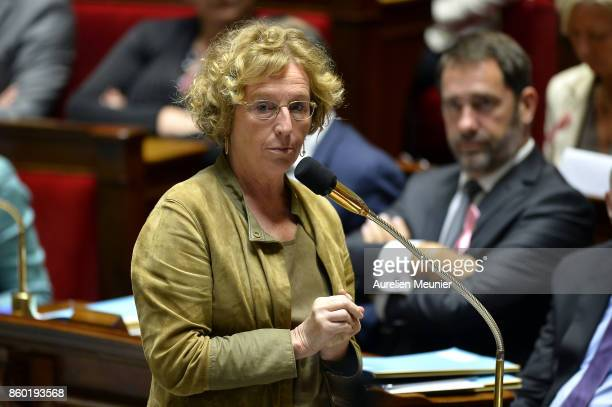 French Minister of Labor Muriel Penicaud answers deputies during the weekly questions to the government at the Assemblee Nationale on October 11 2017...