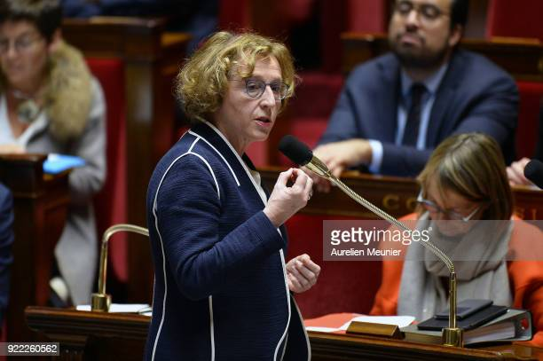 French Minister of Labor Muriel Penicaud answers deputies questions during a session of questions to the government at Assemblee Nationale on...
